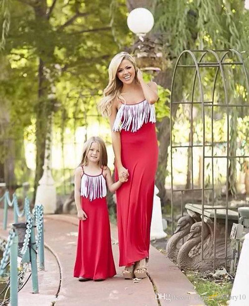 05def0c37478 2018 New Mother And Daughter Tassel Maxi Dress Women Mom And Baby Long Dress  Sleeveless Lace-up Cotton Mother Daughter Matching Outfits Mother Daughter  ...
