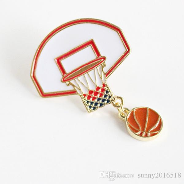 2017 New Fashion Sports Ball Jewelry Basketball Backboard Brooch Pin Jeans Bag Brooches Collar Pins Creative Gifts Wholesale