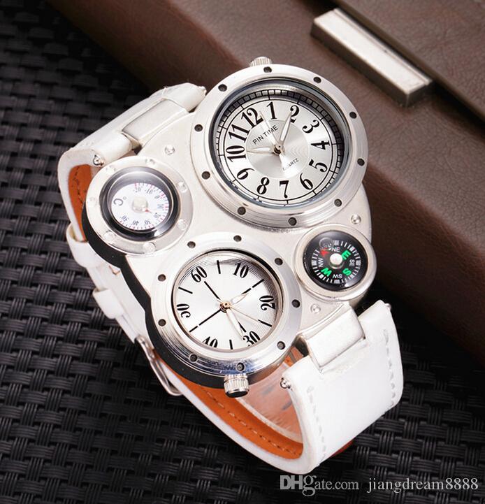 Горячие продать 2017 Женева компас большой циферблат multi-время мужские часы Оптовая два времени ходьба часы спортивные открытый ходьба инструменты часы