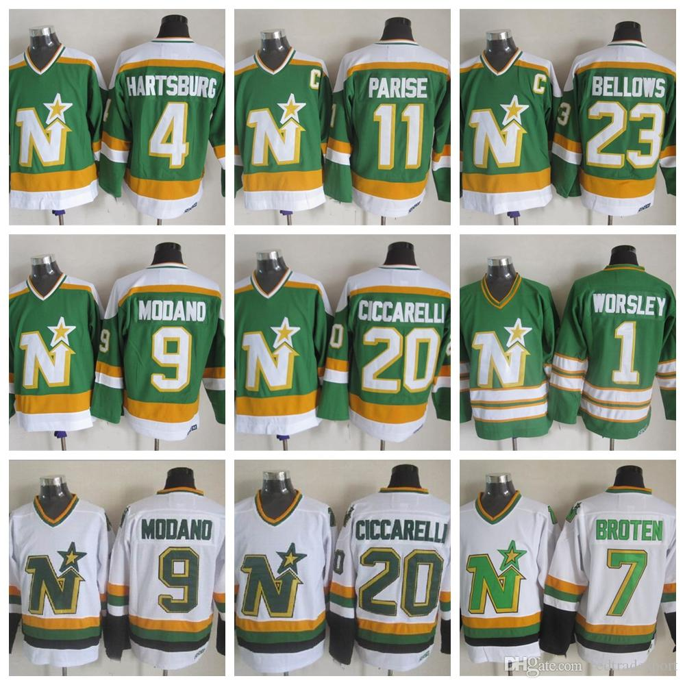 Vintage Minnesota North Stars Hockey Jerseys 1 Gump Worsley 9 Mike Modano  20 Dino Ciccarelli 11 JP PARISE 4 Craig Hartsburg Dallas Jerseys UK 2019  From ... f9cc6e03030