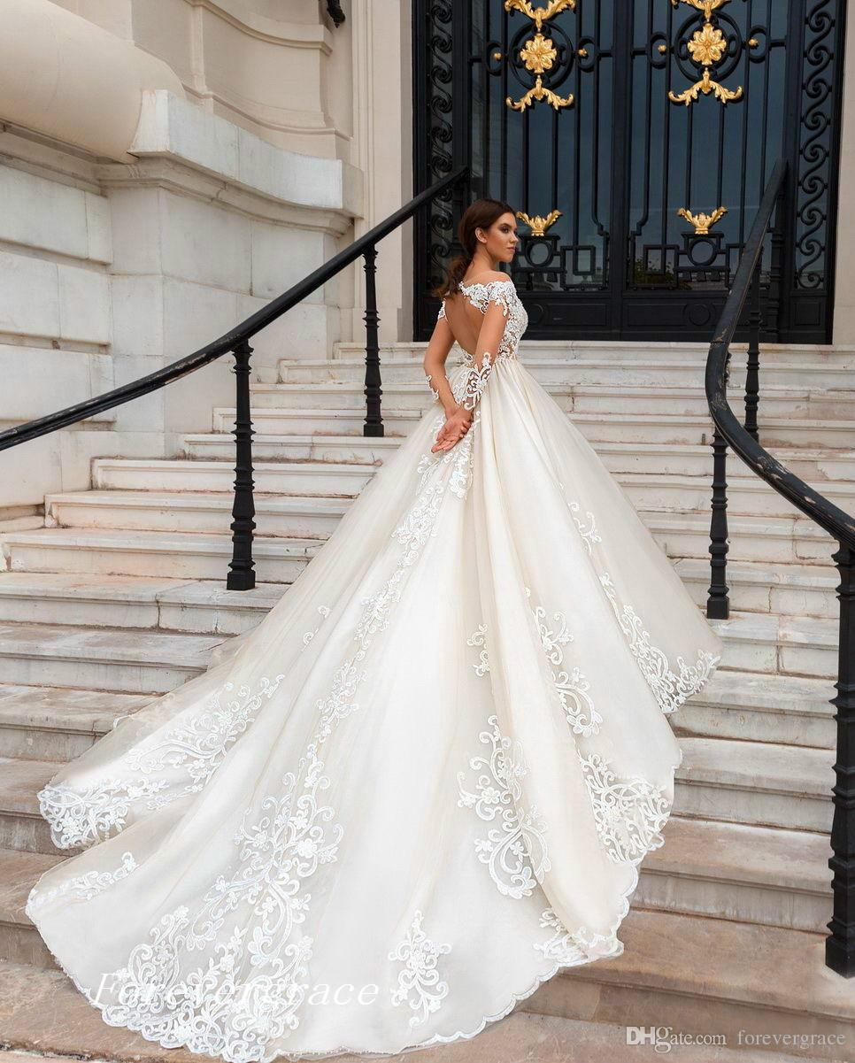 Lüks A-line Dantel Gelinlik Yüksek Kalite Uzun Kollu Backless Kadınlar Gelin Kıyafeti Custom Made Artı Boyutu Wear