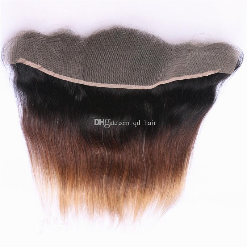 العسل شقراء 1B 4 27 حريري مستقيم الشعر البشري حزم مع الدانتيل أمامي 13x4 الأذن إلى الأذن أمامي مع أومبير الشعر التمديد