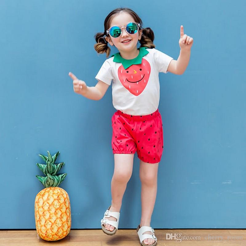 toddler clothing Sets Summer Strawberry Tops +Dots Shorts 2pcs Suits Korean Cotton Kids Casual Sets Children LoungeWear C977