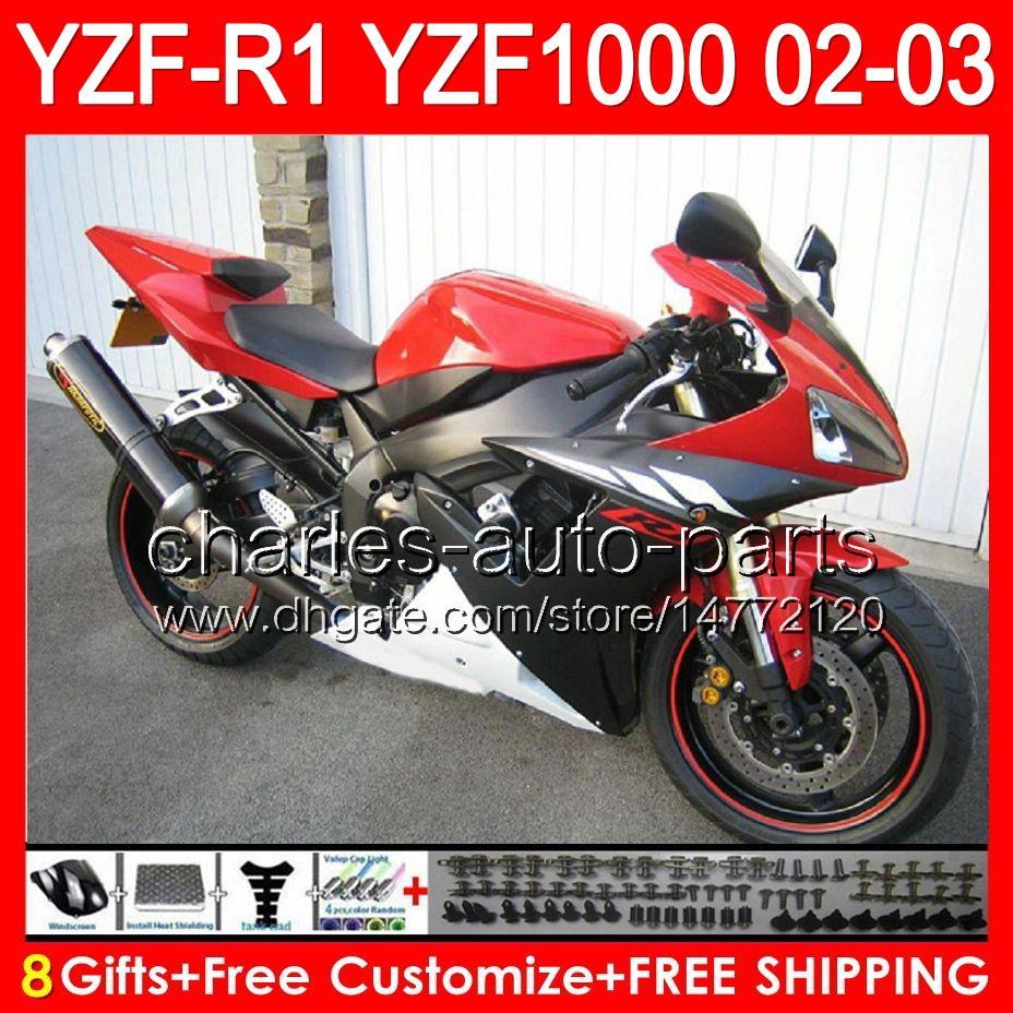 corpo nero lucido 8 pezzi YAMAHA YZFR1 02 03 YZF1000 YZF-R1 02-03 92NO155 YZF 1000 YZF-1000 YZF R 1 YZF R1 2002 2003 TOP rosso nero Carenatura