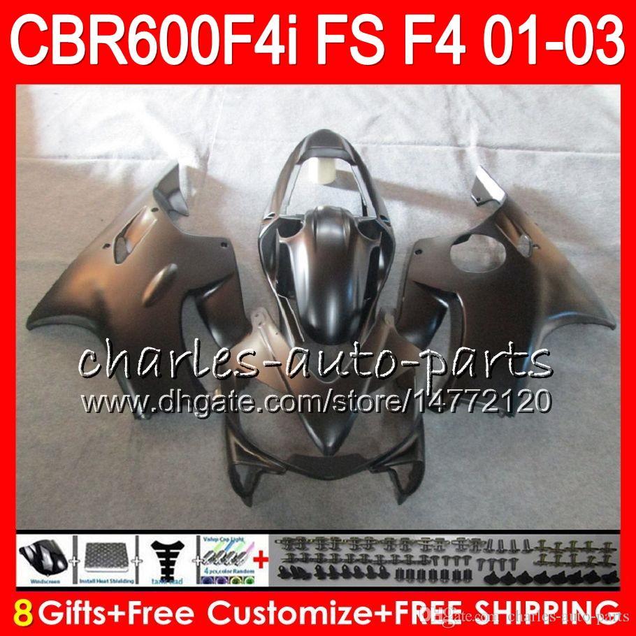 8Gifts For HONDA CBR600FS FS CBR 600 F4i 01-03 28NO38 CBR600 F4i CBR 600F4i CBR600F4i 2001 Matte black 2002 2003 01 02 03 Fairing