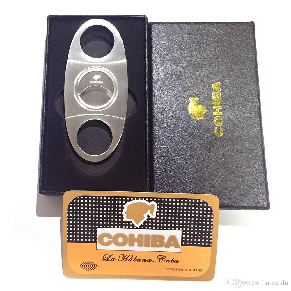 COHIBA Fashion High-Grade Portable Silver Stainless Steel Cigar Cutter Knife Scissors Cut Tobacco Cigar Devices with Box Pocket Size Knife