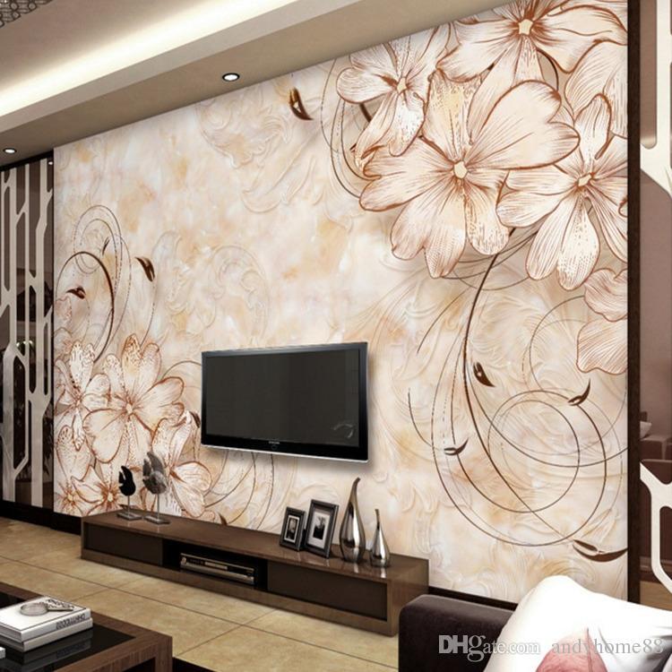 Großhandel 3d European Floral Nachahmung Marmor TV Hintergrund ...