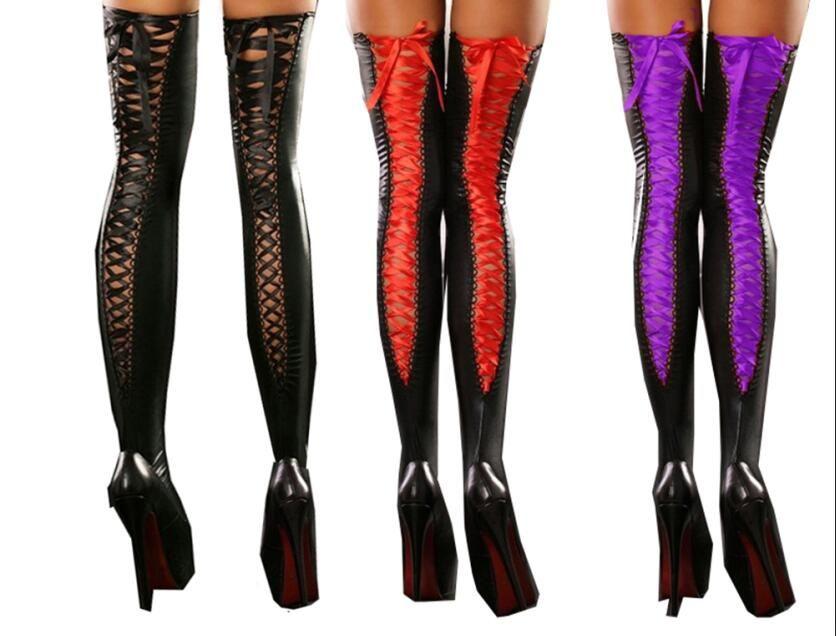 Noir / Violet / Rouge Sexy Lace Up Bas Femmes Hold Up Bas Ruban Chaussettes Fantaisie Robe Décapant Pole Dance Clubwear