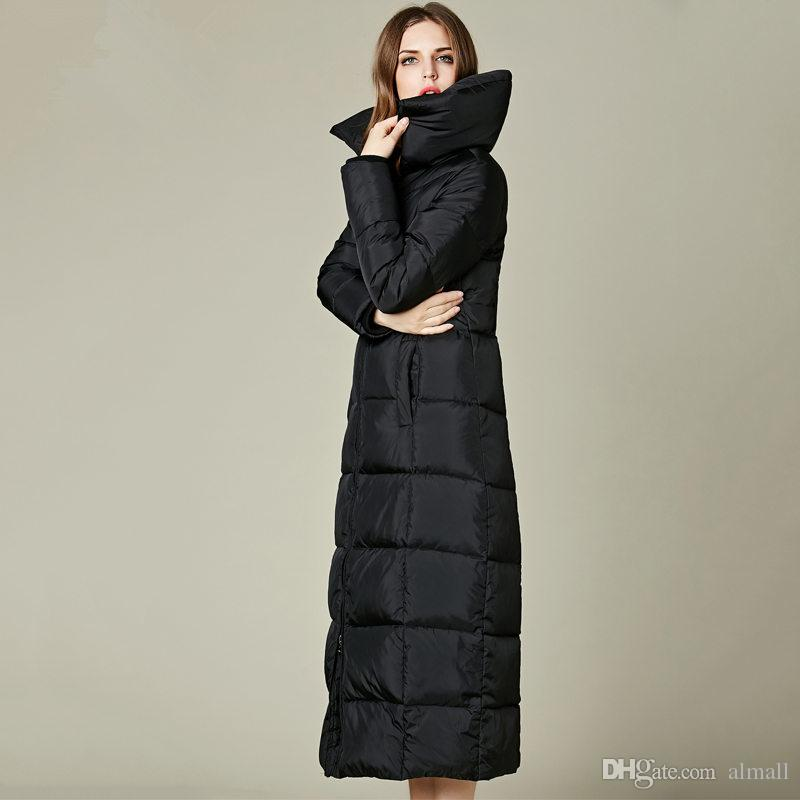fd9b07e490e Winter Jacket Women Over Knee X-Long White Duck Down Cotton Coat ...