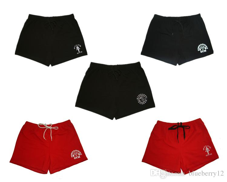 Shorts Koşu Marka% 100 Pamuk Erkekler Spor Şort Altın Santral Şort Spor Erkekler Vücut Geliştirme Egzersiz Spor Eğitimi