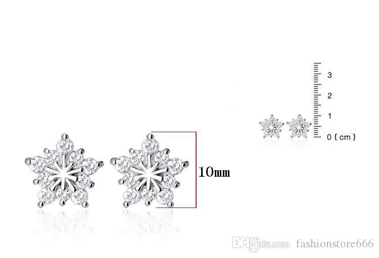 Christmas Snowflake Stud Earrings Created Gemstone Natural Stone Ear Jewelry Big Five Star Women Wedding Stud Earrings Silver Jewelry New