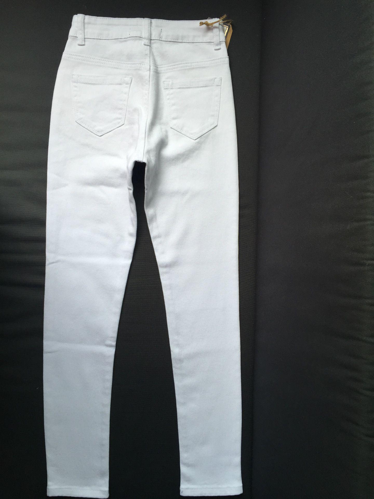 2017042301 jeans a vita alta moda donna Femme Pantaloni matita stretch bianchi denim con tasche jeans strappati skinny le donne 2017