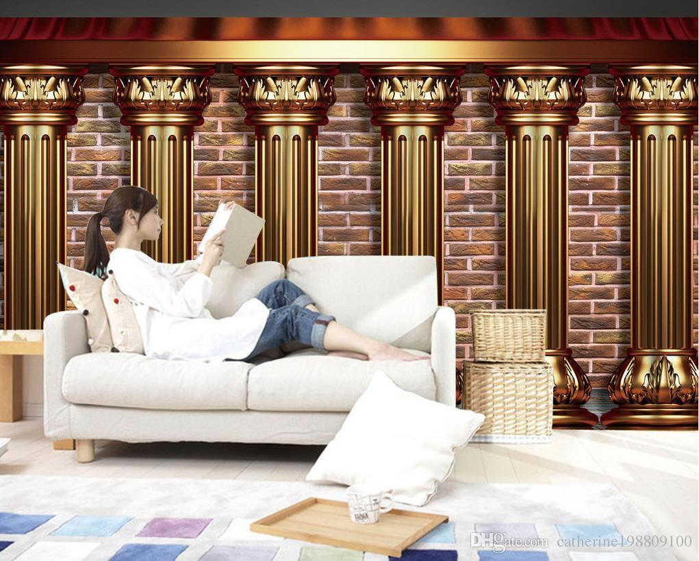 Custom any size European noble 3D gold pillar background wall mural 3d wallpaper 3d wall papers for tv backdrop