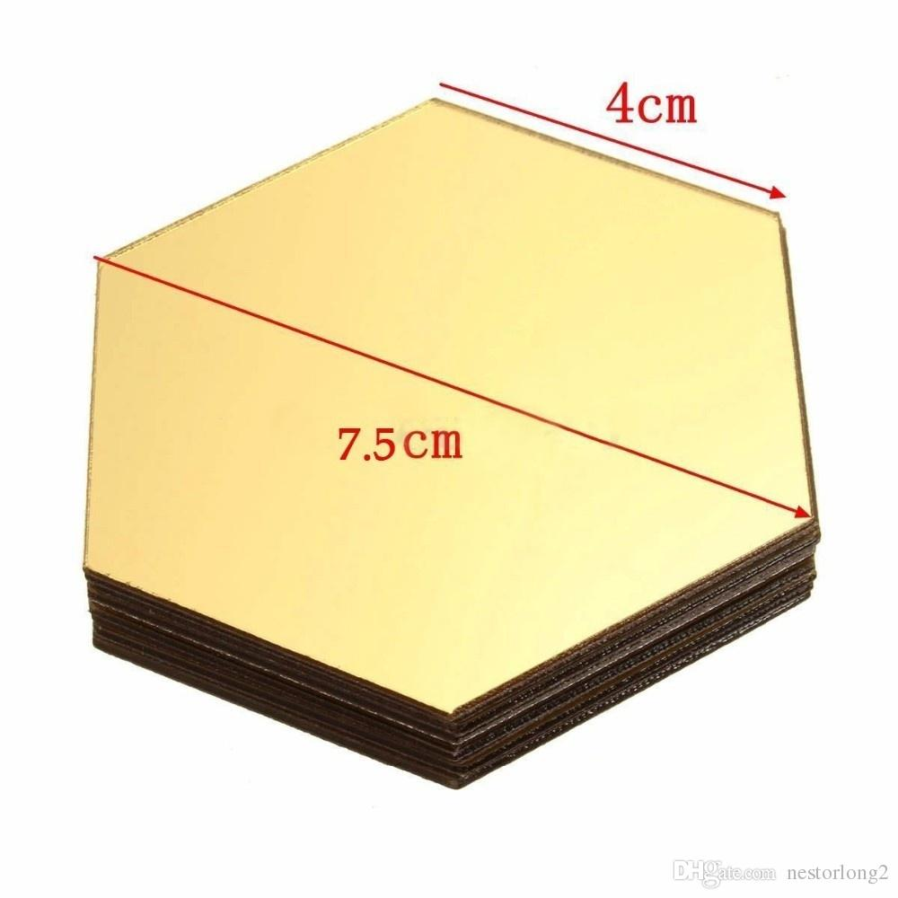 12 unids / set 3D Espejo Etiqueta de La Pared Hexagonal Vinilo Removible Etiqueta de La Pared Calcomanía Decoración Arte DIY 8 cm