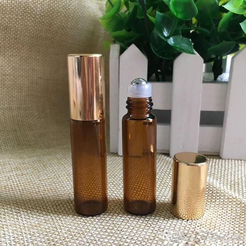 High Quality 3ml 5ml 10ml Glass Roll-on Bottles with Stainless Steel Roller Balls For Essential Oils Small Amber Bottles