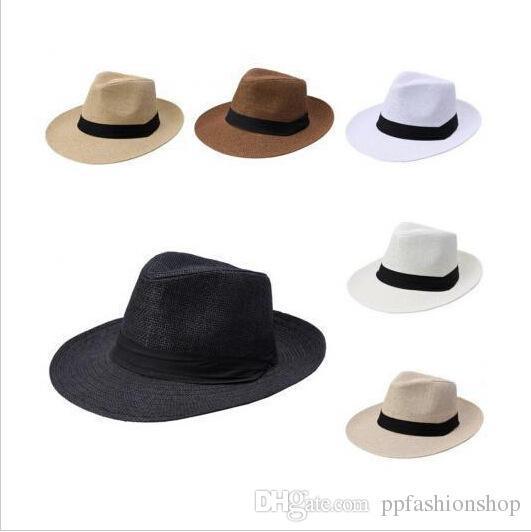 Cappelli visiera di paglia estate le donne uomo grande cowboy top hat all'ingrosso 2021 moda vacanza sunhat