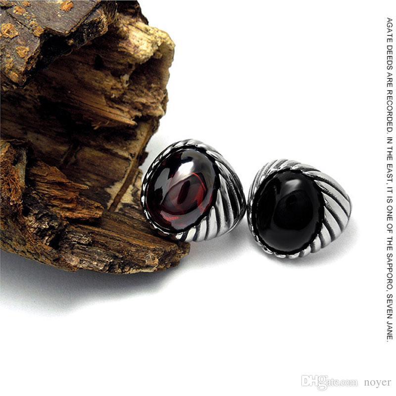 Aço Inoxidável Legal Único Anel de Pedra Preto De Titânio De Aço Retro Velho Totem Jóias Para O Homem Preço de Fábrica Venda