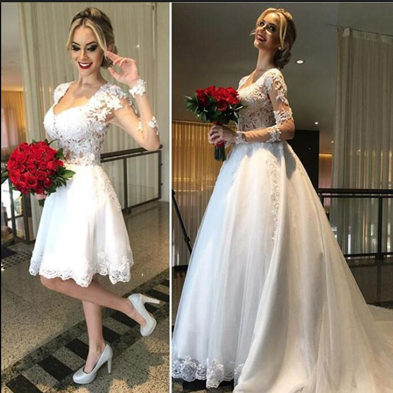 Long Sleeves Lace Ball Gown Wedding Dresses With Detachable Skirt ...