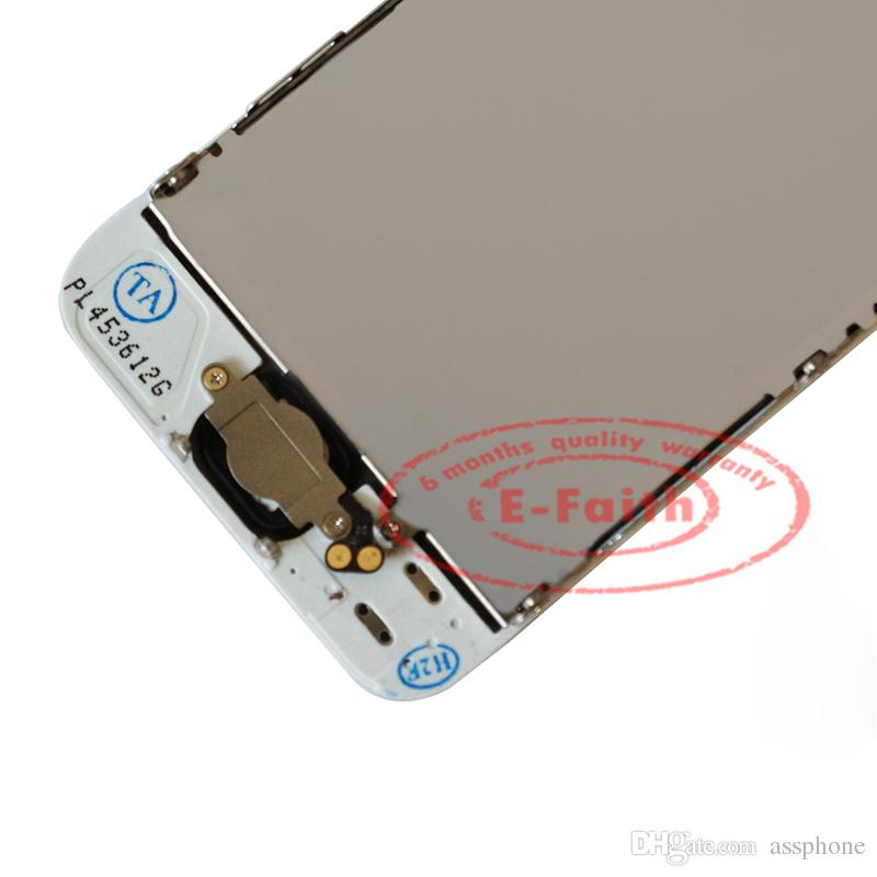 الأبيض زجاج شاشة تعمل باللمس استبدال محول الأرقام الجمعية LCD لفون 5 5G مع زر الصفحة الرئيسية + كاميرا شحن مجاني