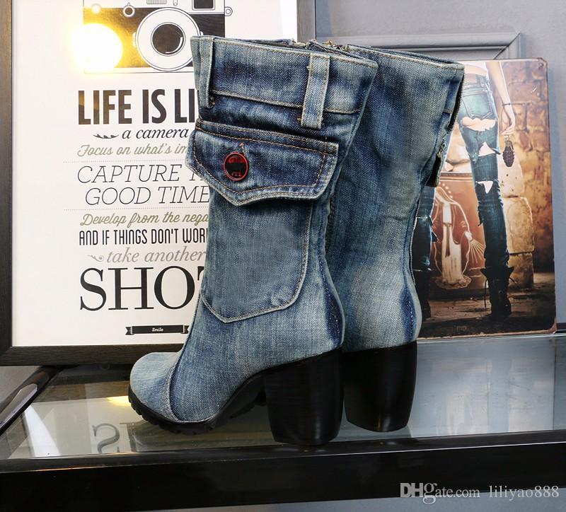 European Style 2017 New Design Half Boots Women Brand Denim Fashion Short Boots Thick Heels Side Zip Cowboy Boots