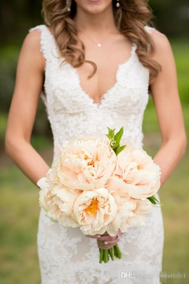 2020 Robes de Mariée col en V profond dos nu manches sirène Vintage Robes de mariée grande taille Bohême Boho robe de mariée