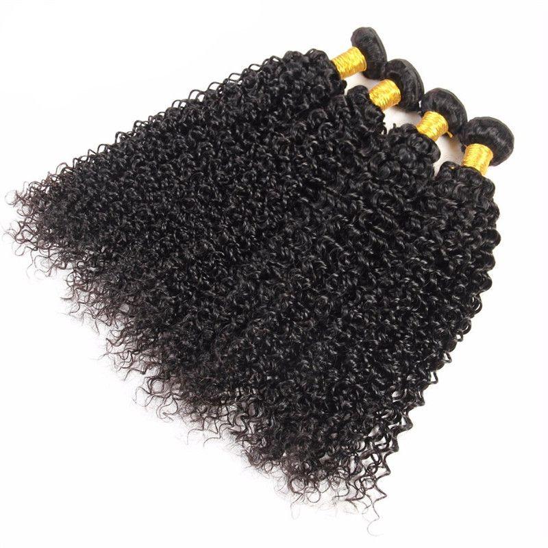 8A Kinky Kıvırcık Moğol Saç 3 ADET Kıvırcık Saç Atkı İnsan Saç Dokuma Atkı 3 Paketler