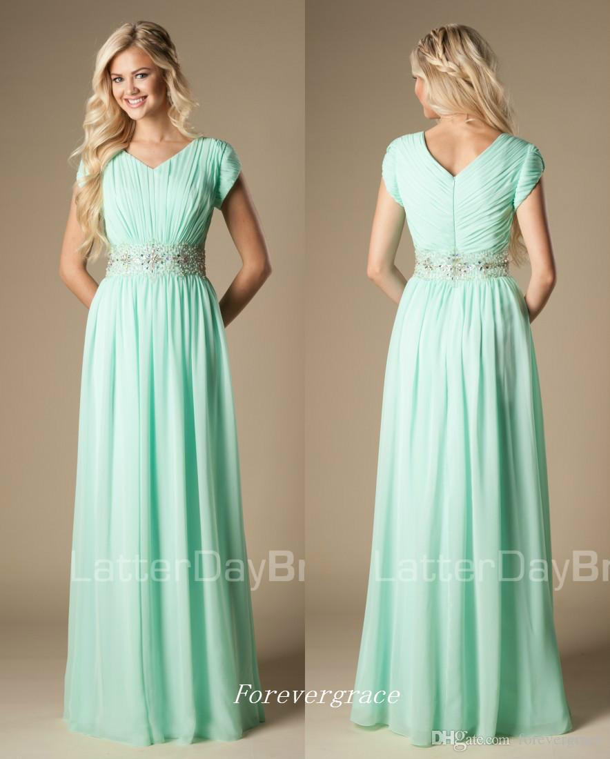 5f945324c88 High Quality Beaded Mint Green Bridesmaid Dress Modest A Line Chiffon  Formal Maid Of Honor Dress Wedding Guest Gown Custom Made Plus Size Floor  Length ...