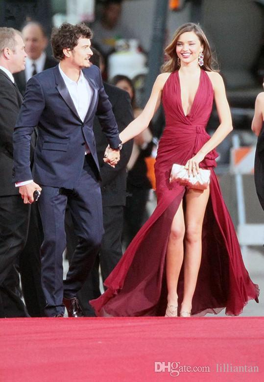 Deep V Neck Red Carpet Prom Dresses Sexy Split evening dresses miranda kerr golden globes Wine Red long party gowns High Slit Chiffon