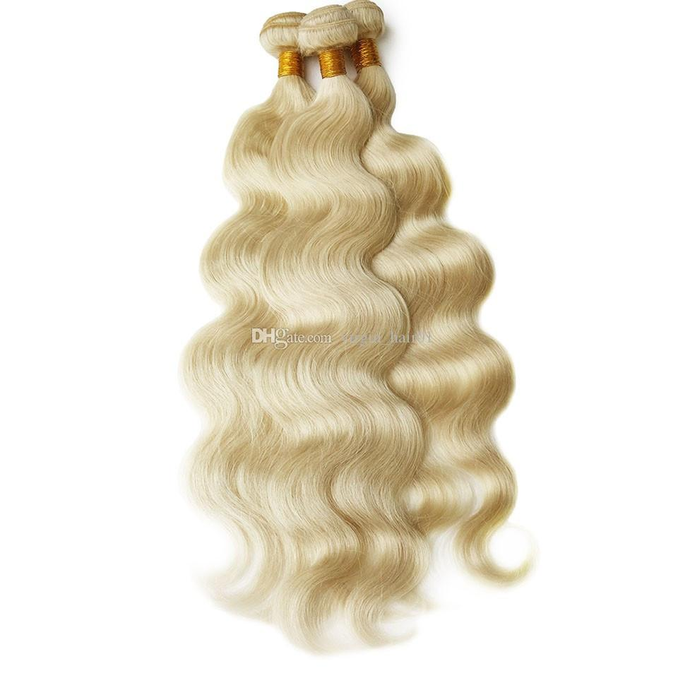 Silk Base Blonde 360 Lace Frontal With Bundles Brazilian Human hair Lace Frontal Weave 4*4 Silk Base 360 Closure With Body Wave Hair