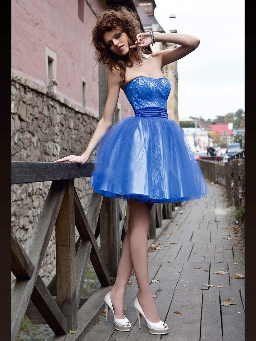 Tatlı Mavi Balo Mezuniyet Elbiseleri Straplez Dantel Tül Mini Kısa Puf Balo Elbise Custom Made Parti Kıyafeti Gençler Için