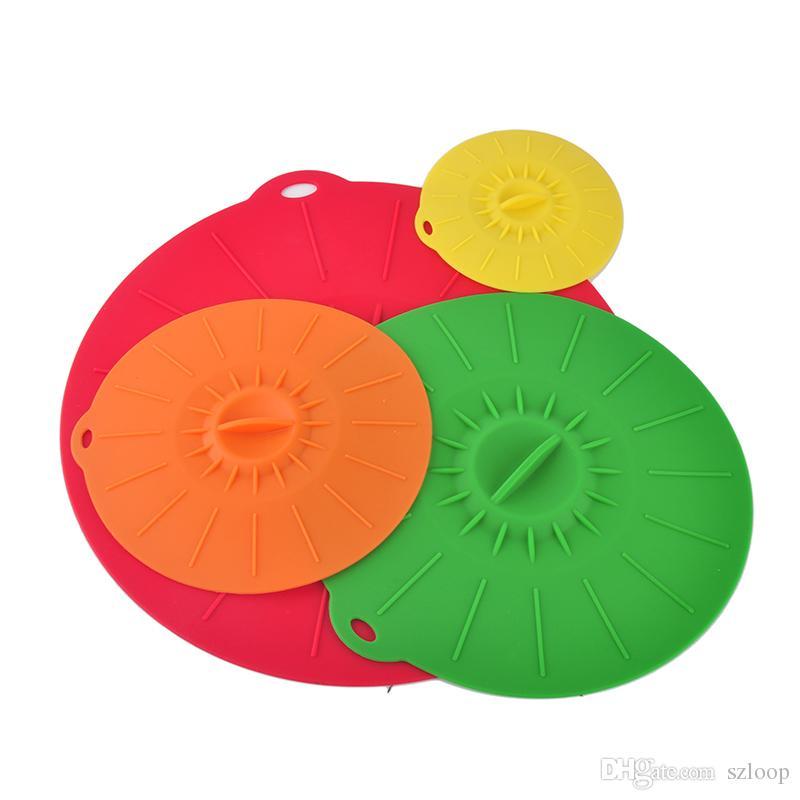 Evrensel Silikon Emme Kapak-kase Pan Pişirme Pot Kapak-silikon Streç Kapaklar Silikon Kapak Mutfak Pan Spill Kapak Stoper Kapak 0702070