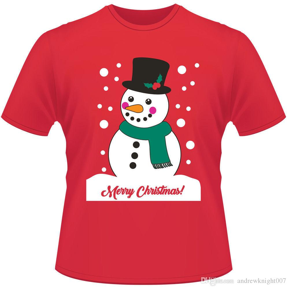 Mens Christmas Womens Unisex Cotton Xmas Gifts T Shirt Santa Reindeer Snowman Print Short Sleeve Xmas Novelty Tees Tops T-Shirt DK0552BK