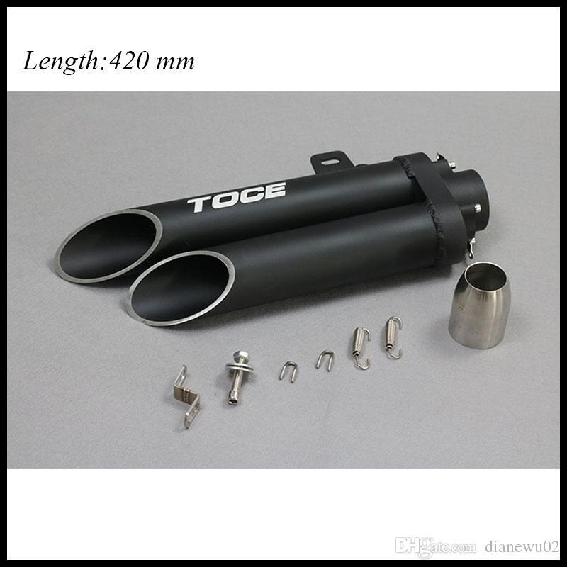Titanium TOCE 51mm NEW Universal Motorcycle Exhaust Muffler Double Tube Black Box z800 bn300 zx10r R1 R3 NINJIA250 CB40 CB400 YA004