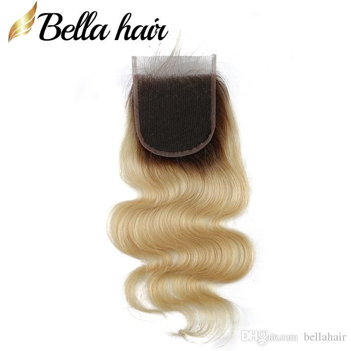 Braziliaanse Virgin Haar Blonde Kantsluitingen 4x4 Body Wave Menselijk Haar Sluiting 1B / 613 Gratis Part Top Closures Pre Plucked Bella Hair