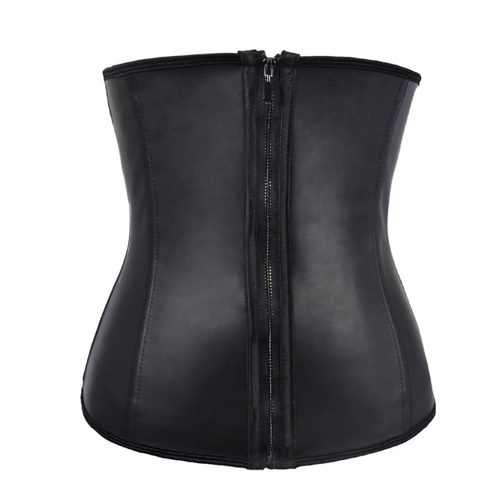 latex corset clip and zip waist cincher Plus Size Corset black steel boned sexy lingerie corsets modeling strap 6xl corset