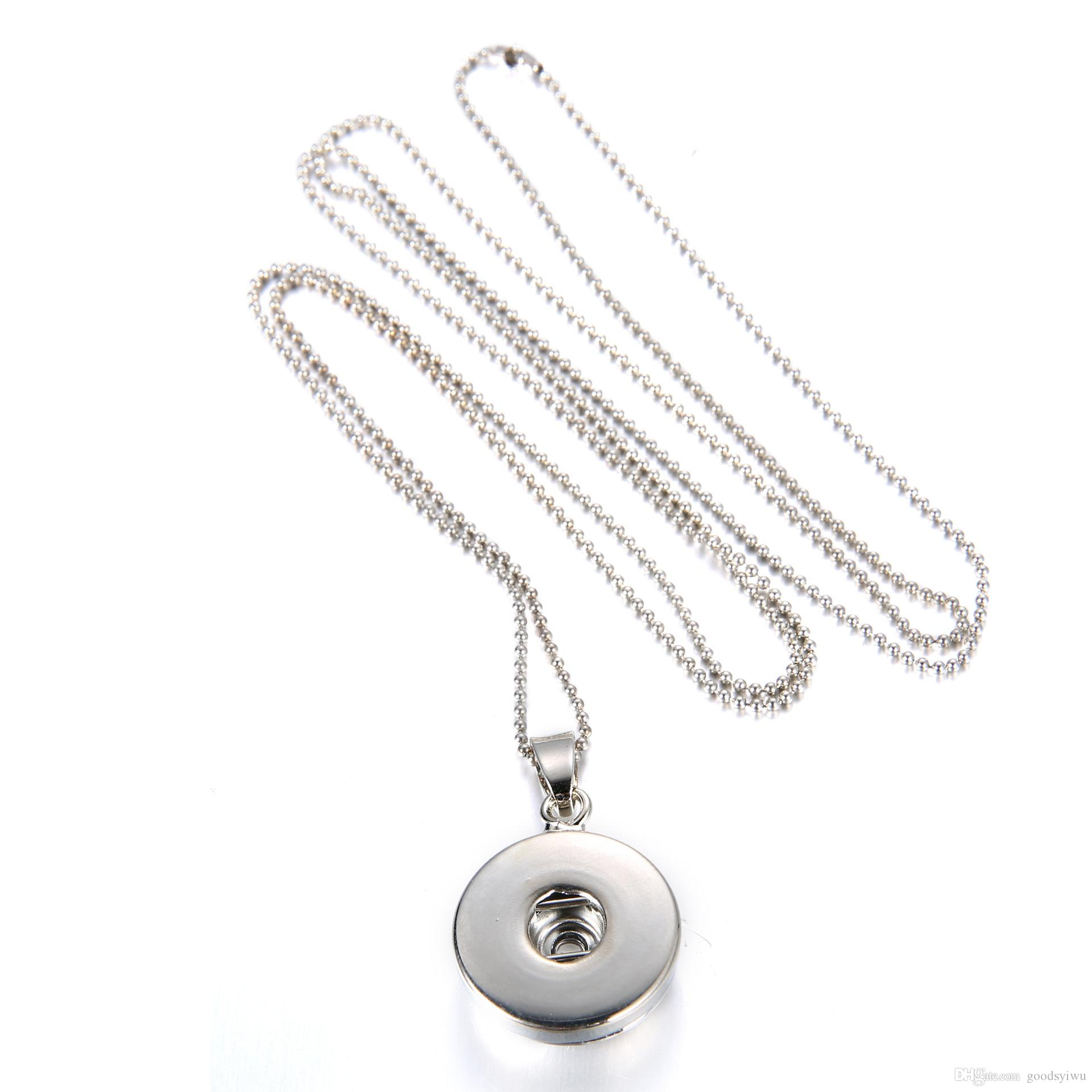 New Noosa style 12MM 18MM fashion Stainless steel Snap button pendant 925 silver Snake Chain Necklace jewerly for women Men