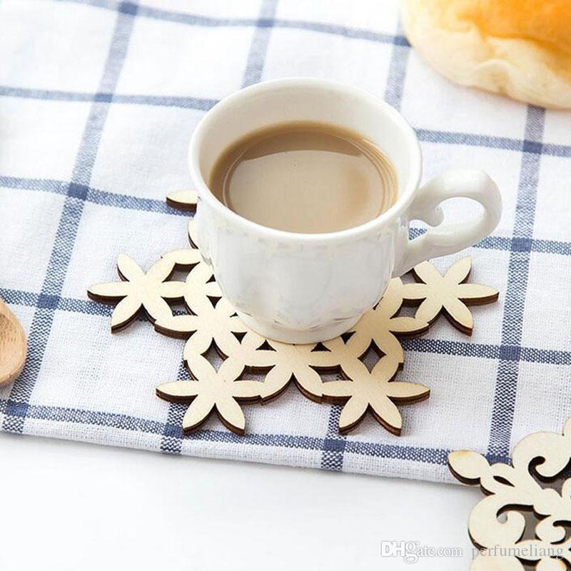 Schneeflocke Holz Becher Untersetzer Trinken Tee Tasse Matte Vintage Abendessen Tischsets Für Tischdekoration Große Geschenke ZA4977