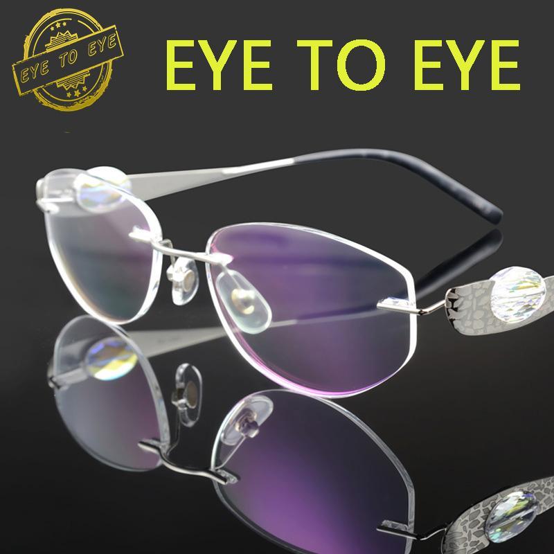 d4f5301c43 2019 Wholesale Luxury Woman Glasses Frame Titanium Flex Crystal Clear  Eyeglasses Fashion Brand Designer Diamond Rhinestone Rimless 1709 Quality  From Duweiha ...