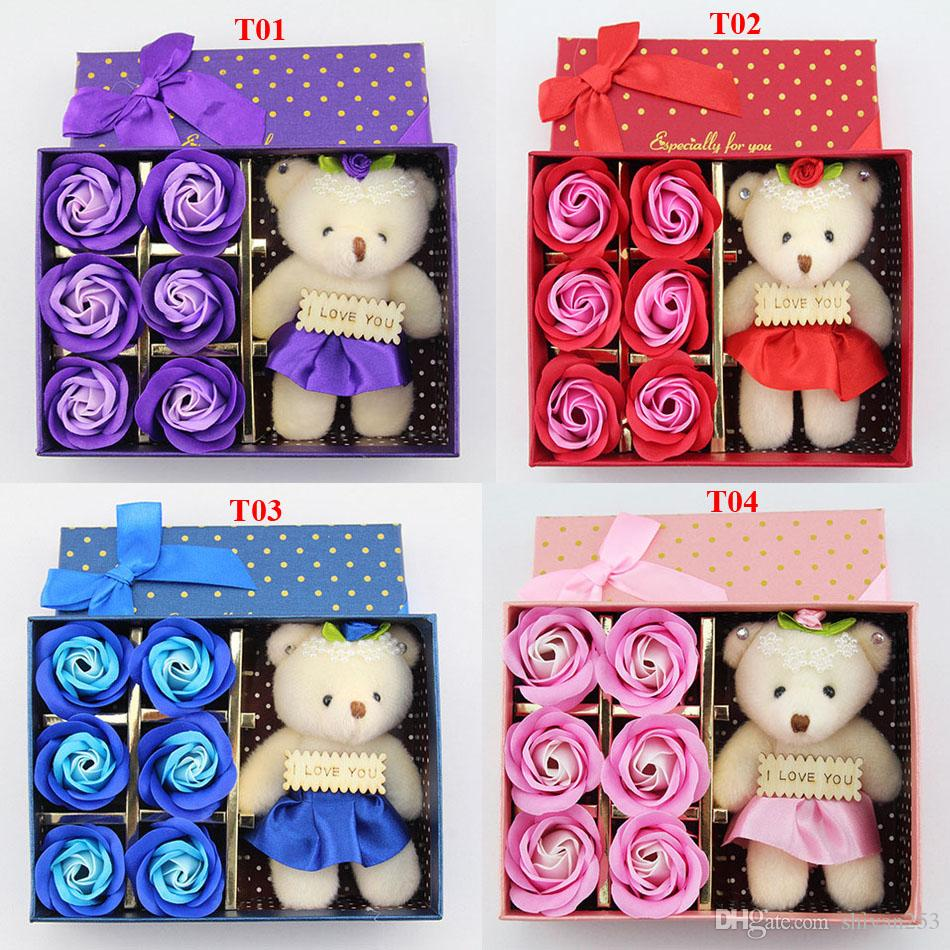 6Pcs/Box Romantic Rose Soap Flower With Little Cute Bear Doll Great For Valentine Day Giftsfor Wedding Gift or birthday Gifts