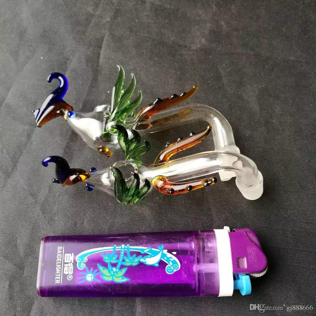 Multi - color Phoenix pots glass bongs accessories  , Colorful Pipe Smoking Curved Glass Pipes Oil Burner Pipes Water Pipes Dab Rig Glass B
