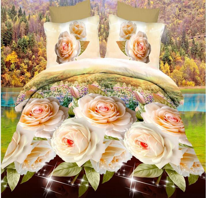 Cartone animato Rosa rossa Copripiumino in cotone stampato 3D Lenzuolo Federa fiorita Regalo di San Valentino Biancheria da letto Queen size
