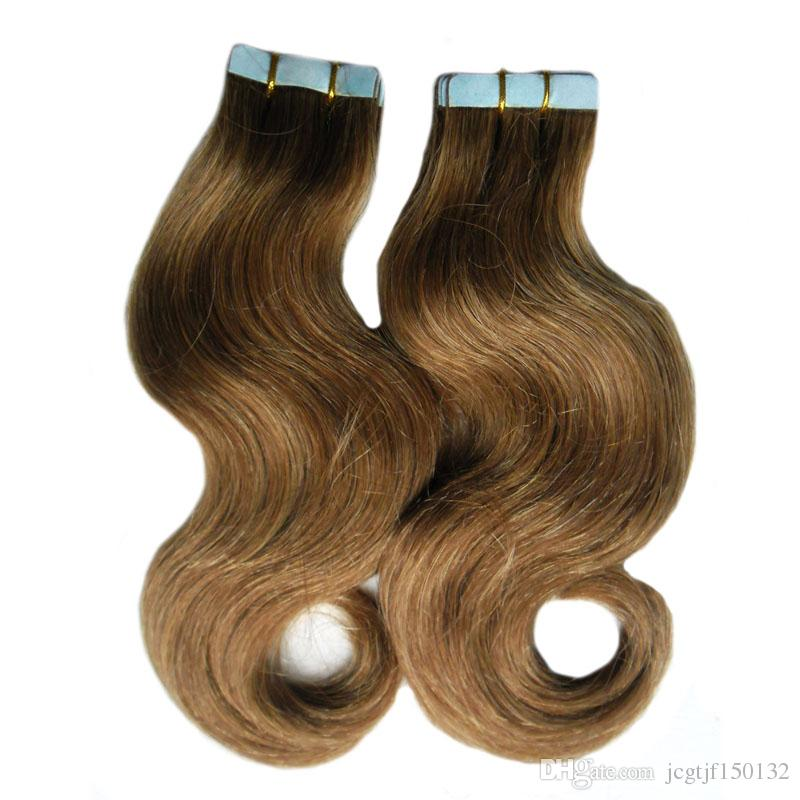 6 Medium Brown 100g Invisible Tape Extensions Human Hair Body Wave