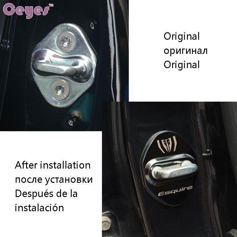 Auto door lock cover case ESQUIRE car emblems badge for toyota corolla auris rav4 door lock decor protector accessories car styling