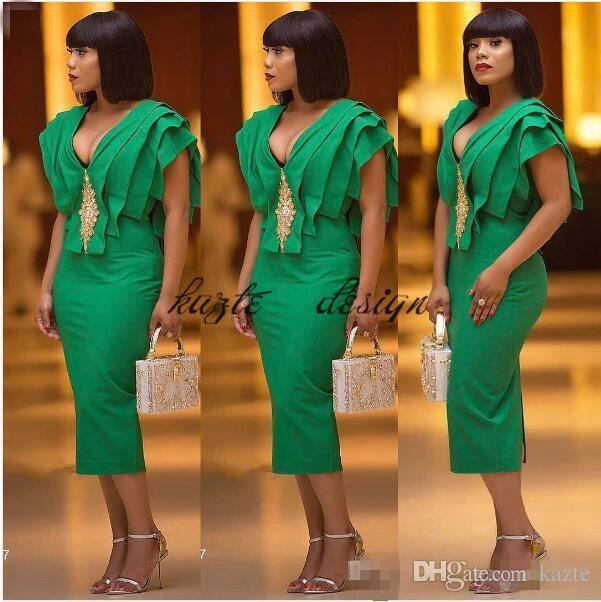 2018 Green Aso Ebi Vestidos de cóctel Vaina con cuello en V con volantes hasta el tobillo Vestidos de fiesta formales Vestidos de noche para árabe Dubai Nigeria