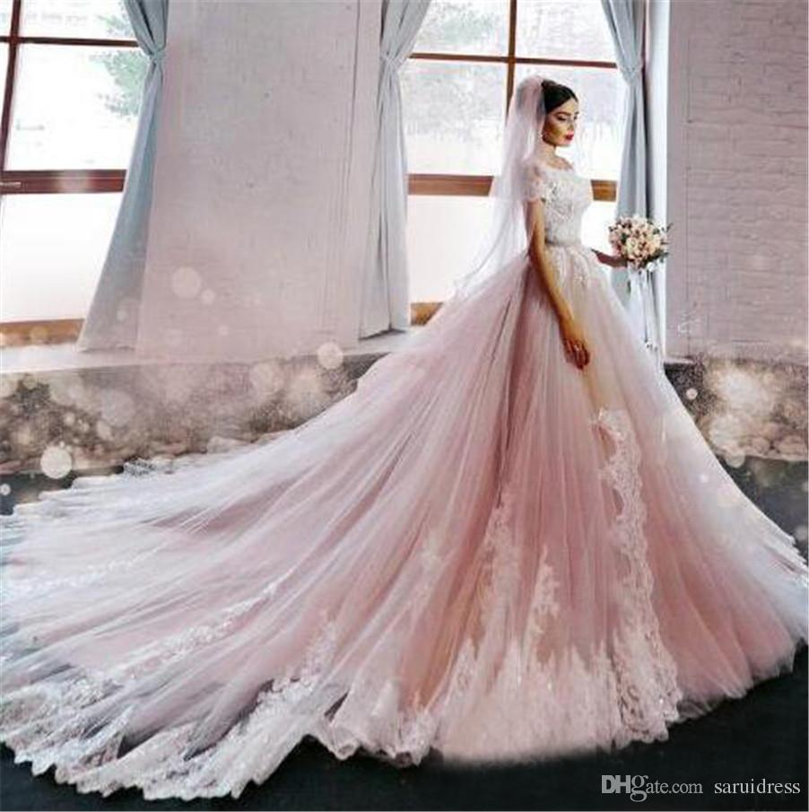 Luxury Off Shoulder Lace Short Sleeve Applique Chapel Train Bridal Gowns Custom Made China Blush Pink Wedding Dresses with Color