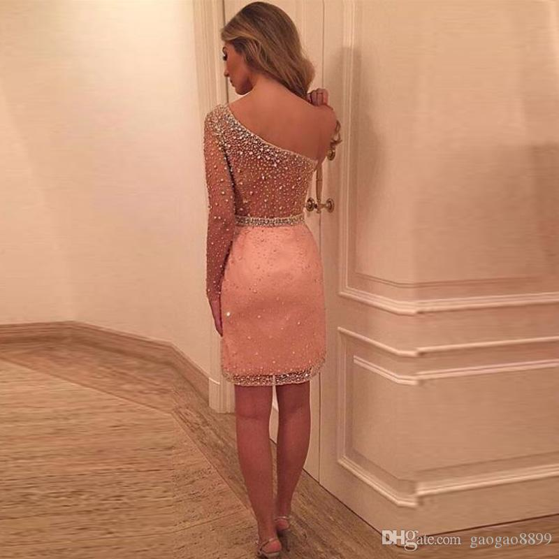 Blush one-shoulder Long Sleeve Short Evening Party Dresses Sparkly Beaded See Through Knee-length Sheath Prom Occasion Dress