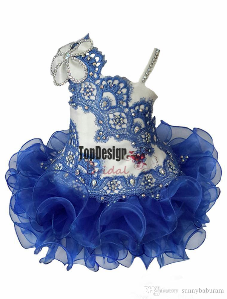 Wholesale New 2017 New Lace Girls Straps Beaded Pageant Cupcake Dresses Infant Short Skirts Toddler Mini Tutu Girls Formal Occsion Gowns