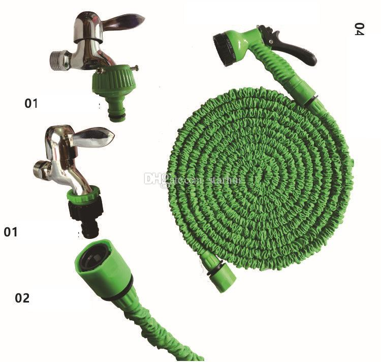 3 Times Expandable Hose 25FT 50FT 75FTGarden Lawn Patio Watering Equipments Gun Flexible Hose Water Garden Pipe with 7 Kinds spray WX-P05