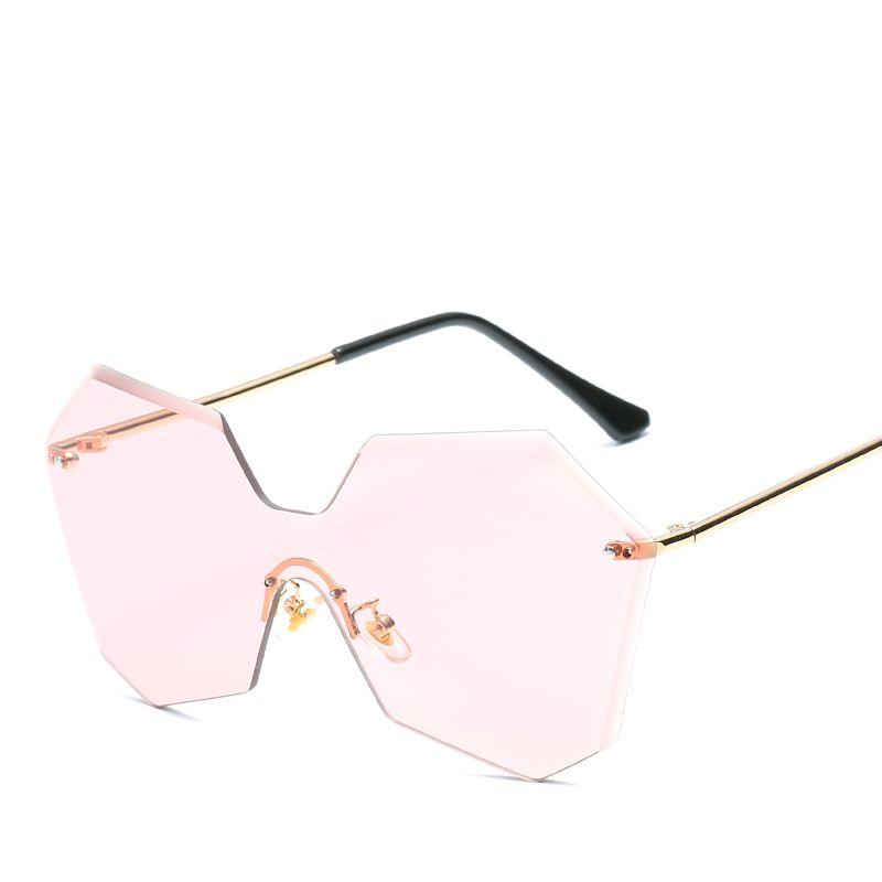 b33a9de0866f New Fashion Rimless Sunglasses Women Brand Designer 2017 New Oversized Pink  Lens Metal Frame Vintage Sun Glasses For Female UV400 VE037 Best Sunglasses  ...
