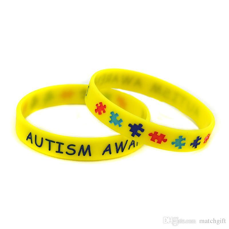 Autism Awareness Silicone Gummi Armband Skönade och Fyllda I Färg Jigsaw Pussel Logo Vuxen Storlek 5 Färger